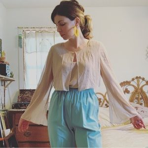 Vtg Adrianna Papell bell sleeve sheer layered top